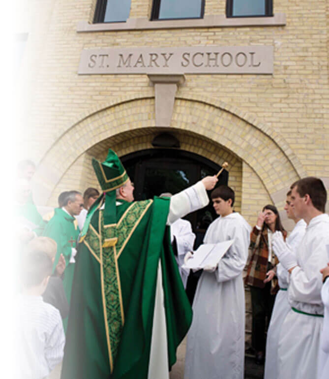 Green Bay diocese bishop at Saint Mary's blessing mass goers