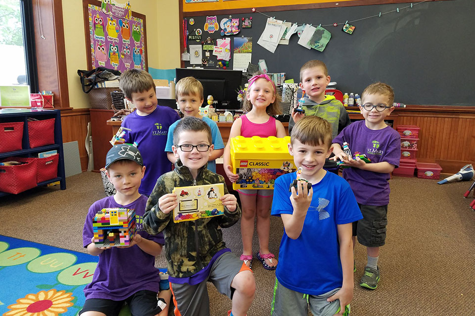 Fun with legos in the kindergarten class
